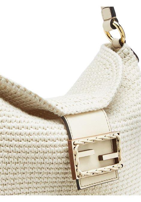 Borsa a spalla piccola Croissant in cotone bianco FENDI | Borse a tracolla | 8BR790-AFGCF1C6R