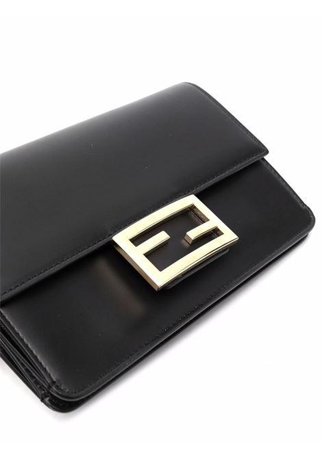 Black leather mini Flat Baguette crossbody bag  FENDI      8BS048-AAIWF0KUR