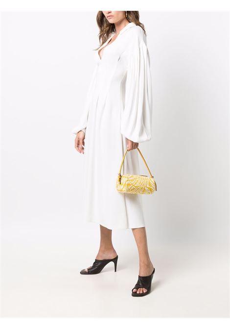 Mini borsa giallo e bianca in pelle e tela con stampa FF Vertigo FENDI | Borse a mano | 8BS050-AFL1F1E8K
