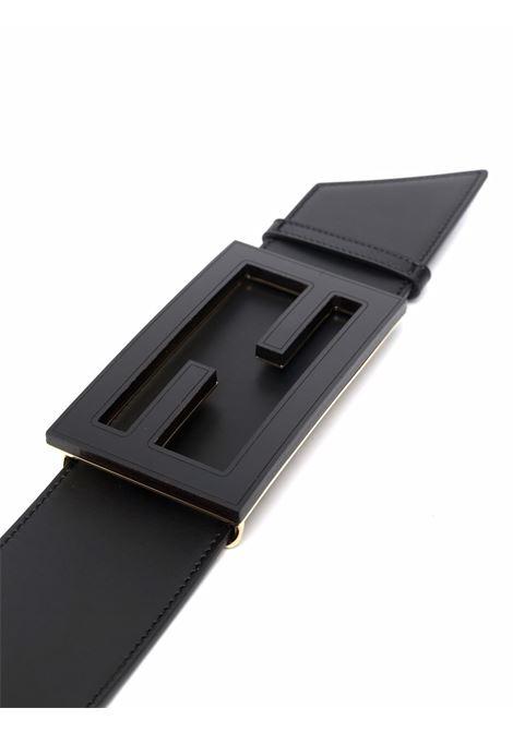 Cintura in pelle nera con fibbia FF nera opaca FENDI | Cinture | 8C0616-AAIWF0KUR