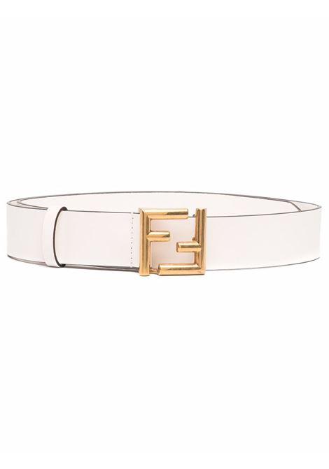 Cintura in pelle bianca da 3,5cm con fibbia FF Fendi placcata oro FENDI | Cinture | 8C0649-AA1LF1EXX