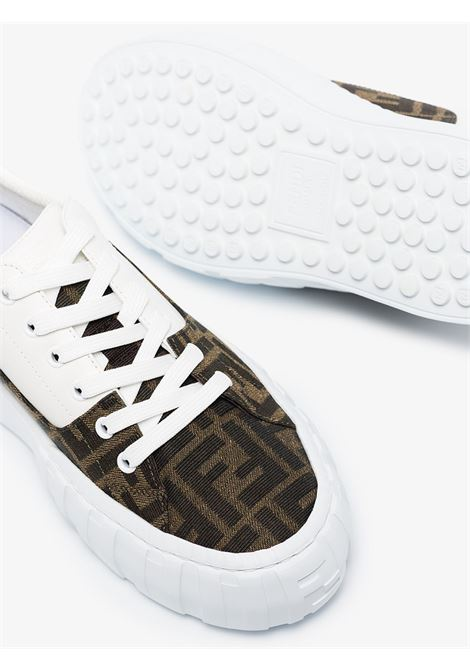 White and brown fabric and leather Fendi Force lace-up sneakers  FENDI |  | 8E8109-AF5CF1DV2