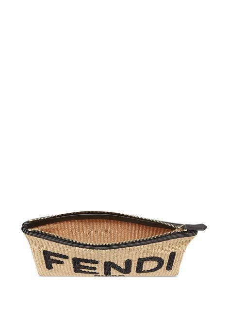 Pochette piatta media beige e nera con design intrecciato FENDI | Clutch | 8N0149-AF2XF1E1I