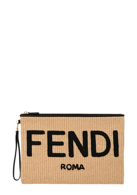 beige clutch featuring interwoven design and black Fendi logo FENDI |  | 8N0178-AF2XF1E1I