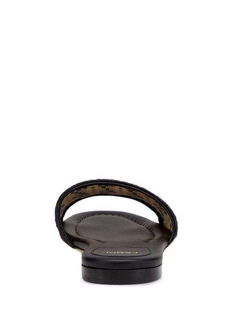 Sandali in pelle e cotone beige e nero con stampa FF FENDI | Sandali | 8R8092-AEH7F1D1U