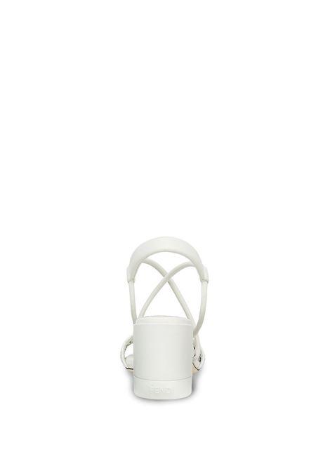 Sandali slingback in pelle di vitello bianco con motivo FF FENDI | Sandali | 8X8093-AEH6F0Z5V