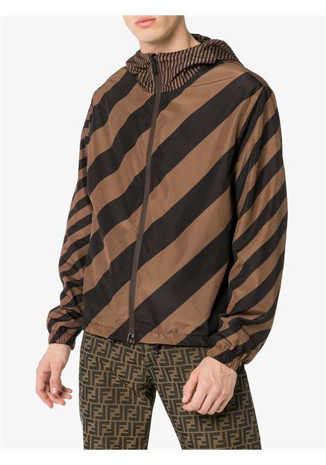 giacca con zip reversibile marrone e nera con cappuccio FENDI   Giubbini   FAA615-A79NF13IZ