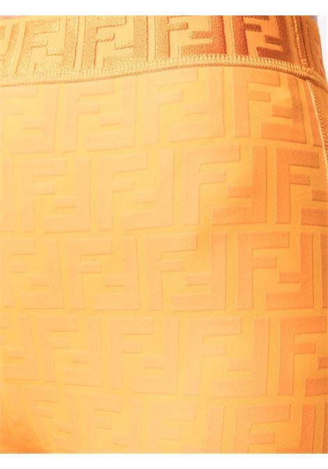 Leggings con stampa monogram FF Fendi arancione a vita alta FENDI   Pantaloni   FAB174-AES4F1D3D