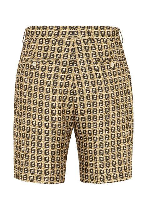 Shorts FF beige e neri in design intrecciato FENDI | Bermuda | FB0521-AFEIF0UNT