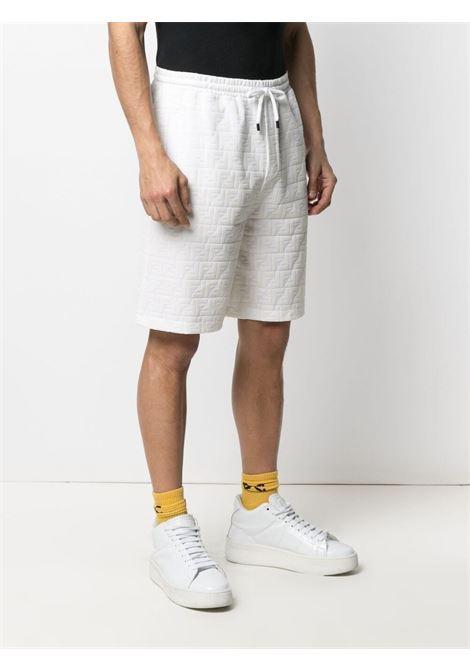 White cotton flocked FF-logo print track shorts FENDI |  | FB0689-A7D5F0GF7