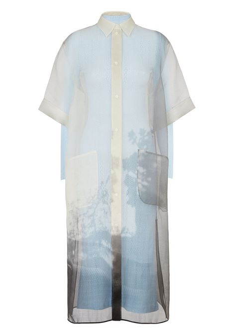 Sky blue,cream and black silk shadow print short-sleeve shirt dress  FENDI |  | FDB530-AF7QF0GME