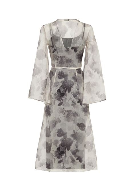 Grey and black silk and organza floral print sheer wrap dress  FENDI |  | FDB592-AF7PF0GME