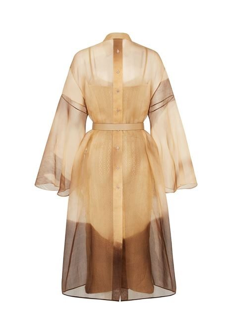Beige and brown silk belted sheer midi dress  FENDI |  | FDB597-AF7RF1D3F
