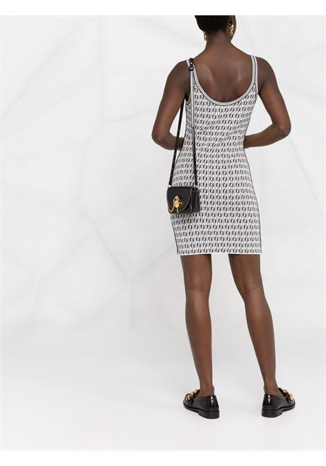White and black FF-logo print sleveless strappy dress  FENDI |  | FDZ881-A4FUF0ZNM