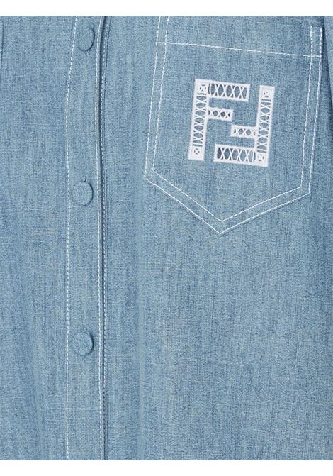 Denim blue cotton shirt featuring FF-logo embroidery FENDI |  | FLF641-AFLMF1D3B