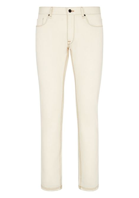 Jeans slim fit in misto cotone bianco panna con cuciture a contrasto FENDI | Jeans | FLP201-AF8RF0WC4
