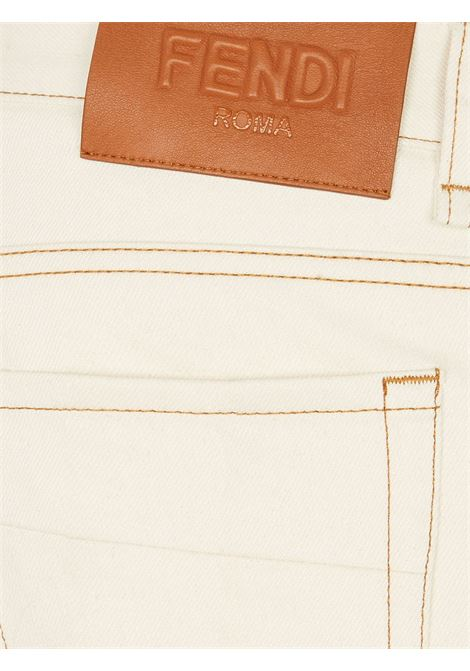 Cream white cotton-blend contrast-stitching slim-fit jeans  FENDI |  | FLP201-AF8RF0WC4