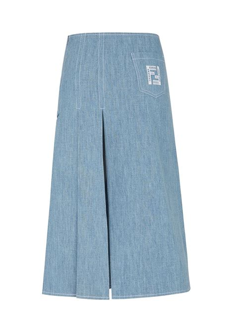 Gonna in denim di cotone blu con ricamo FF FENDI | Gonne | FLQ542-AFLMF1D3B