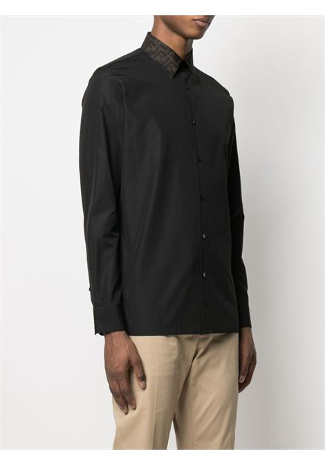 Camicia nera in cotone con colletto a contrasto con logo Fendi FENDI | Camicie | FS0751-AF03F0QA1
