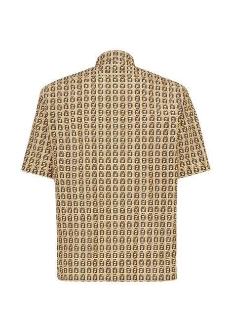 Camicia a maniche corte con stampa FF beige FENDI | Camicie | FS0795-AFXEF0UNT
