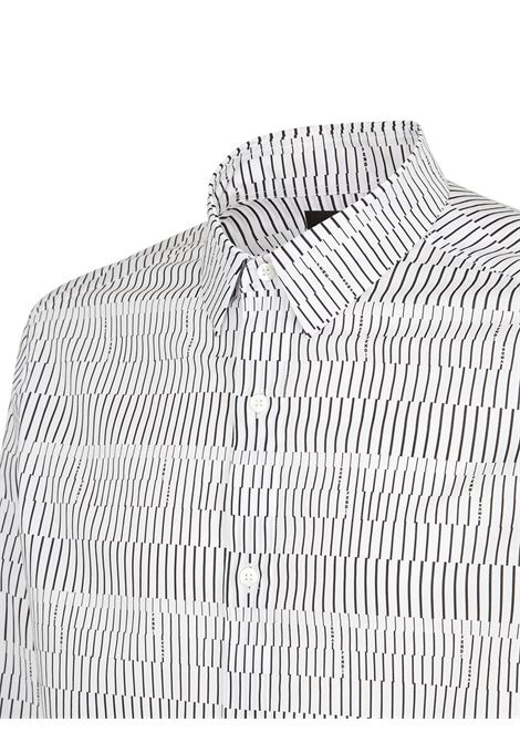 White and black cotton-blend micro-print striped shirt  FENDI |  | FS0799-A4FXF0W90