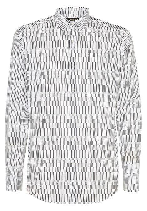 Camicia bianca e nera a righe in microfibra di misto cotone FENDI | Camicie | FS0799-A4FXF0W90