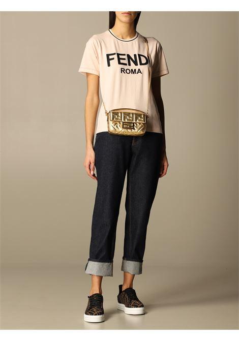 T-shirt rosa in cotone con logo Fendi Roma nero ricamato FENDI | T-shirt | FS7254-AC6BF1BW6