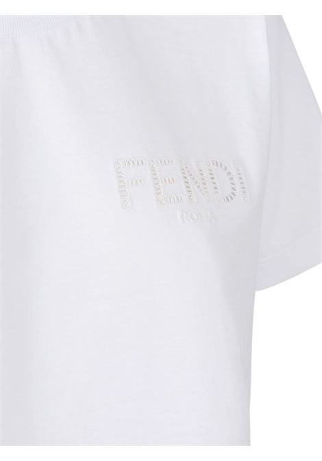 White cotton Fendi logo-embroidered cropped T-shirt  FENDI |  | FS7389-AFLTF0ZNM