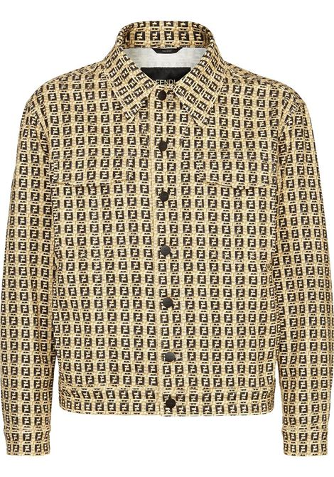 Beige and black stretch cotton denim FF motif jacket  FENDI |  | FW0428-AFEVF0UNT