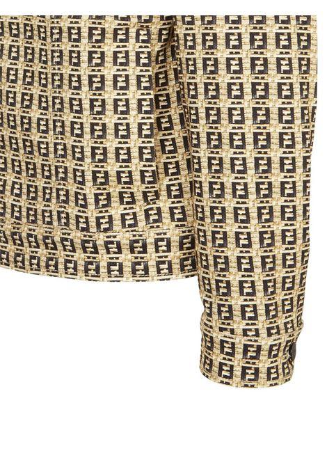 Giacca con motivo FF in denim di cotone elasticizzato beige e nero FENDI | Giubbini | FW0428-AFEVF0UNT