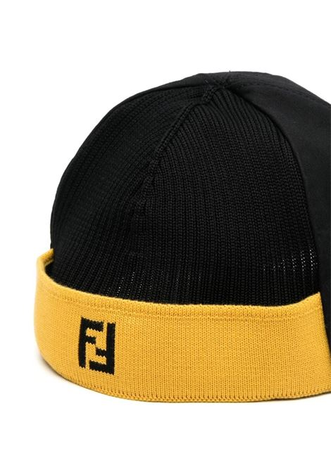 black cotton cap featuring yellow Fendi embroidered logo FENDI |  | FXQ782-AFH3F0748
