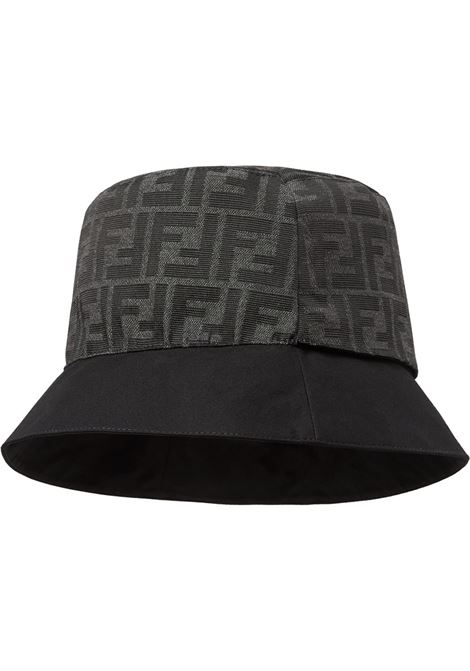 Black cotton-blend grey FF-motif bucket hat  FENDI |  | FXQ790-AFHAF0QA1