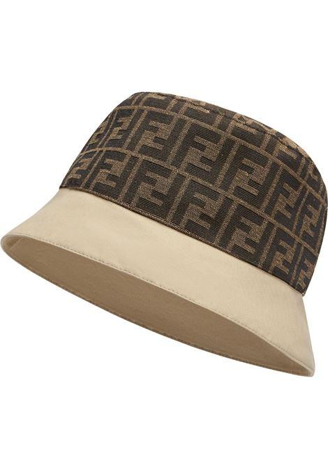 Cappello da pescatore beige e marrone con motivo FF FENDI | Cappelli | FXQ790-AFHAF0QB9