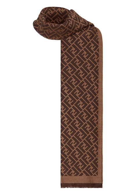 brown and black silk-wool blend fringed Fendi logo-jacquard scarf FENDI |  | FXS124-AFHPF165S