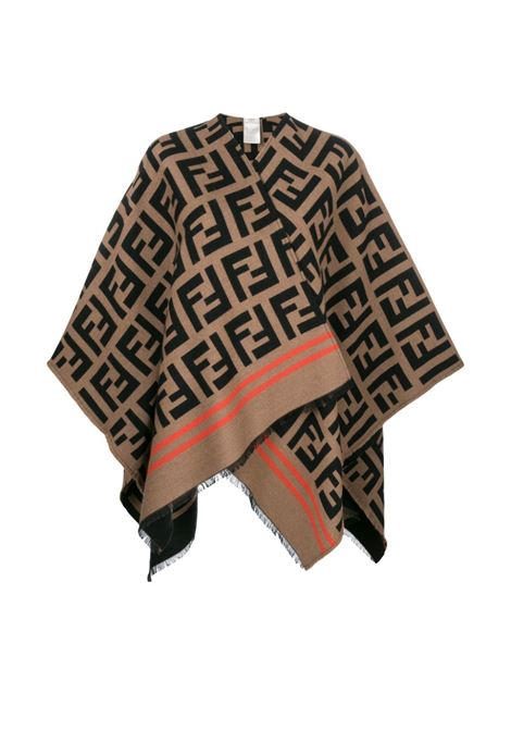 scialle in misto lana e seta marrone e nero con motivo monogram Fendi all over FENDI | Mantella | FXX636-A3Q1F0QB8