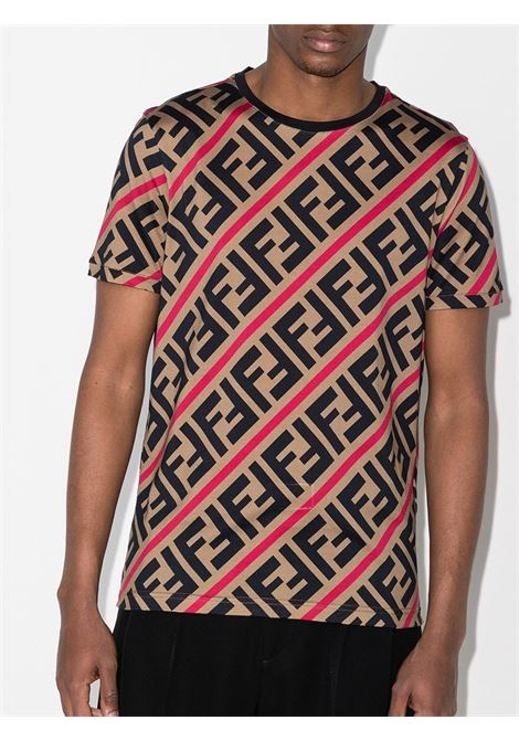 brown, black and red cotton FF-logo crew-neck T-shirt  FENDI |  | FY0894-A7A8F13J8