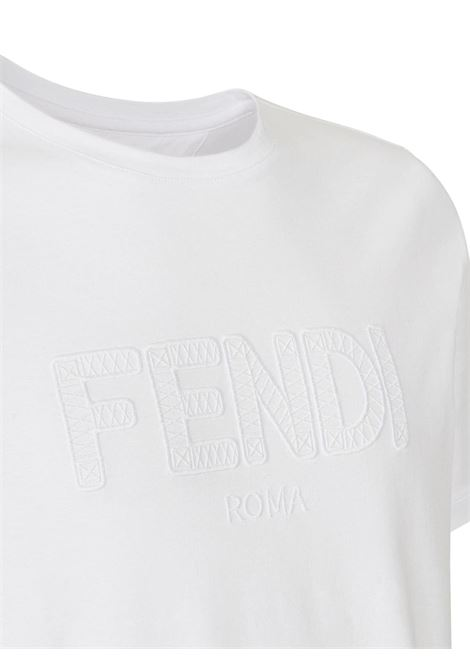 White cotton tone on tone Fendi embroidered logo T-shirt  FENDI |  | FY0894-A7D9F0QA0