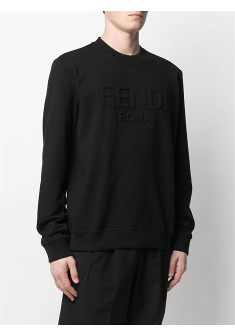 Black cotton debossed Fendi logo sweatshirt FENDI |  | FY1079-A6P3F0QA1