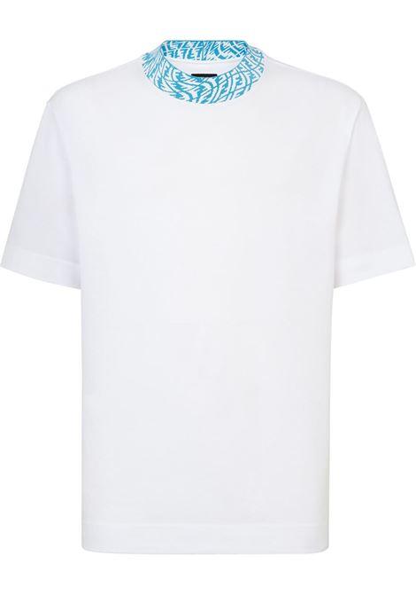 T-shirt in cotone bianco con logo Fendi Vertigo azzurro FENDI | T-shirt | FY1088-AGAKF18TW