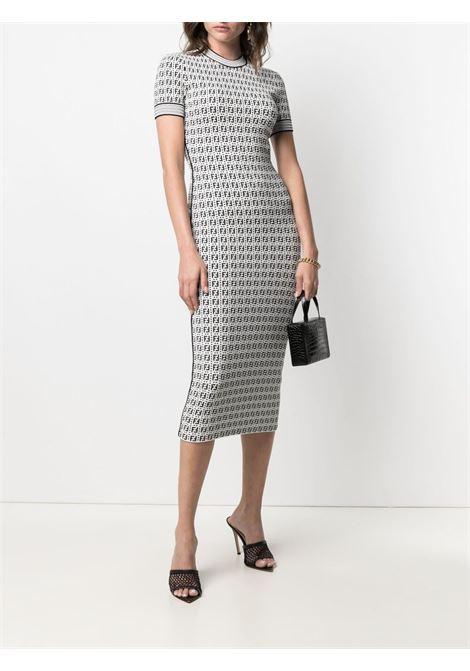 White and black viscose FF-motif midi sheath dress   FENDI |  | FZD889-AF4UF0ZNM