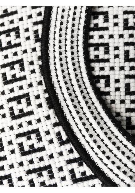Tubino midi bianco e nero tcon motivo FF in viscosa nera FENDI | Abiti | FZD889-AF4UF0ZNM