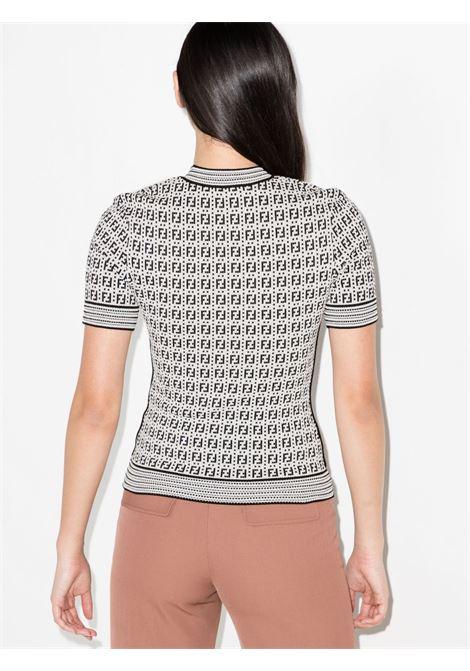 Top in tessuto con motivo FF bianco e nero FENDI | T-shirt | FZX649-AF4UF0ZNM