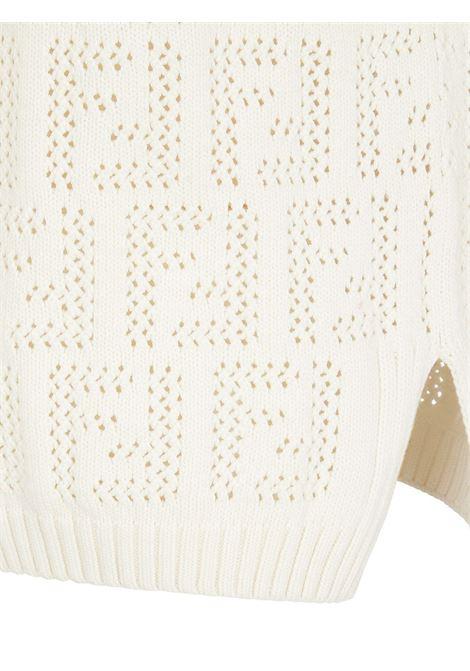 Canotta in cotone bianco con logo FF FENDI | Maglieria | FZX654-AF4TF0ZNM