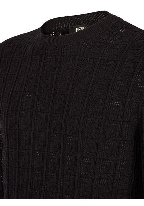 Maglione girocollo con motivo FF nero FENDI | Maglieria | FZY431-AF83F0QA1