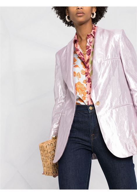 Pastel pink cotton and linen tailored single-breasted blazer  FORTE_FORTE |  | 8205CONCHIGLIA