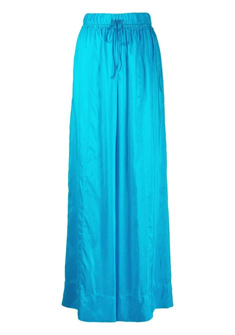 Blue silk wide leg drawstring trousers  FORTE_FORTE |  | 8230MARE