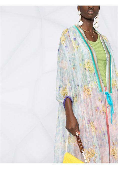 Cappotto oversize in misto lino blu cristallo con stampa floreale FORTE_FORTE | Cappotti | 8253CRISTALLO