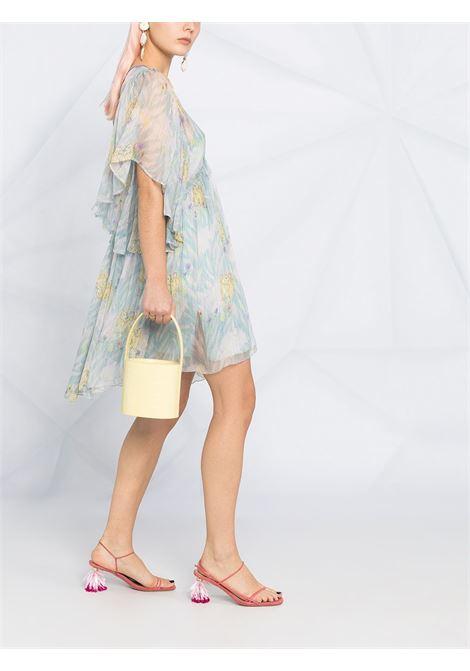 Mini abito in seta blu cristallo con stampa floreale FORTE_FORTE | Abiti | 8258CRISTALLO