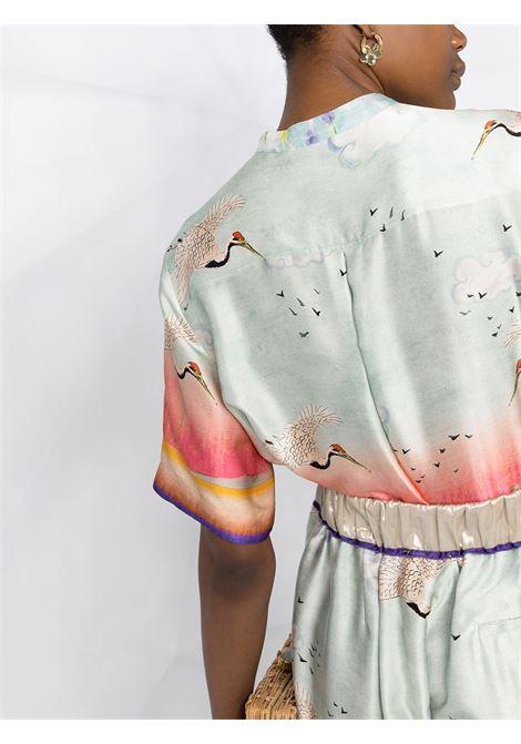 Camicia in seta con stampa uccelli blu con colletto alla coreana FORTE_FORTE   Abiti   8261ACQUA MARINA