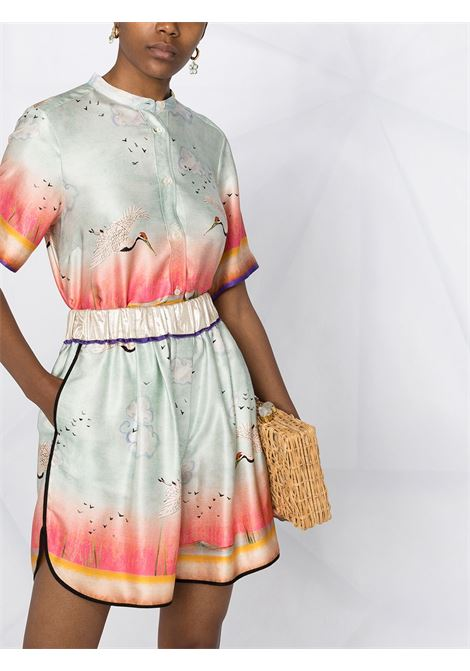 Shorts in seta con stampa di uccelli con elastico in vita FORTE_FORTE | Shorts | 8262ACQUA MARINA